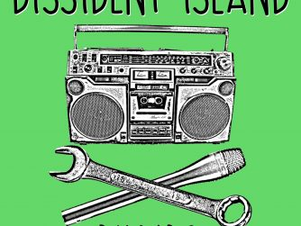 Dissident Island logo, a boombox, wrench and mic stylized like skull and crossbones