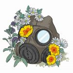 Gas mask overgrown with flowers