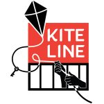 """""""Kite Line"""", hands through prison bars holding a kite string with a key attached leading to a kite flying"""
