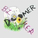 """""""Doomer"""" crossed with the word """"Bloomer"""" over a skull on grass"""