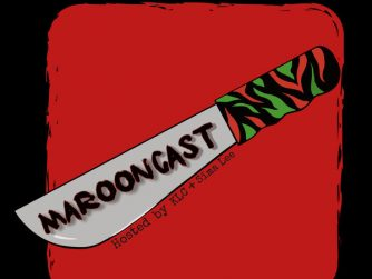"""""""Marooncast"""" written across blade of a machete, red black and green handle, red foreground and black background"""