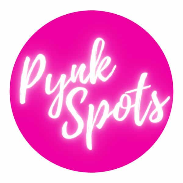 """""""Pynk Spots"""" white text on pink circle and white background"""