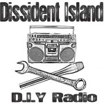 """""""Dissident Island D.I.Y. Radio"""", boom box with a crossed wrench and microphone like a skull and crossbone"""
