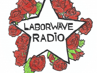 """""""Labowave Radio"""" on a white star surrounded by red roses"""